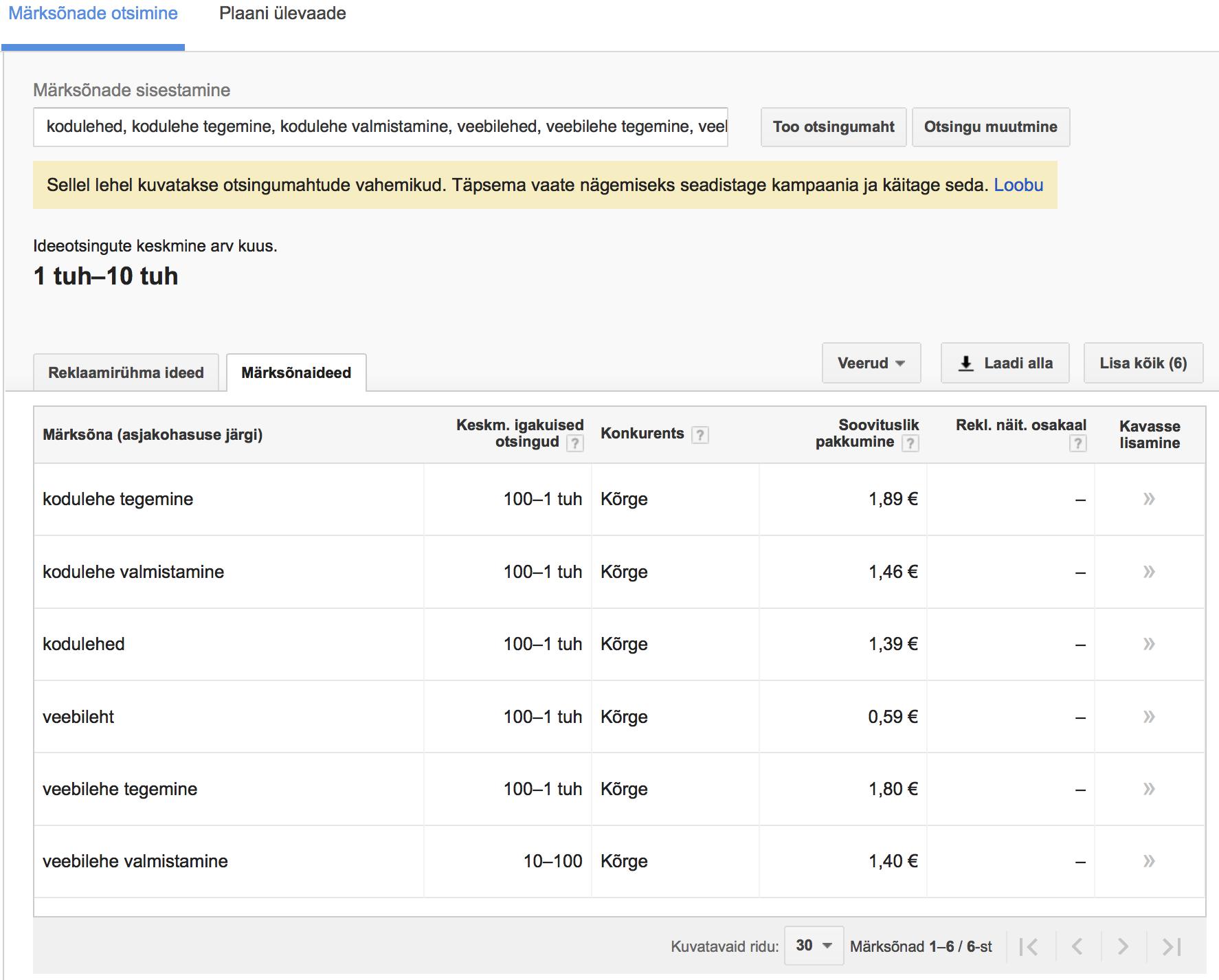 546f4532948 Sihtriigiks ikka Eesti ja edasi näetegi otsingumahtude vahemike. Vahemike  näete sellisel juhul, kui teie Google AdWordsi teenuse ...